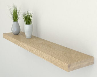 150mm Deep Oiled Solid Oak Floating Shelf | Oak Wall Shelves | Including All Fixings