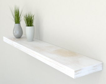150mm Deep Solid Reclaimed Style Oak Floating Shelf | Rustic White Oak Wall Shelves | Including Fixings