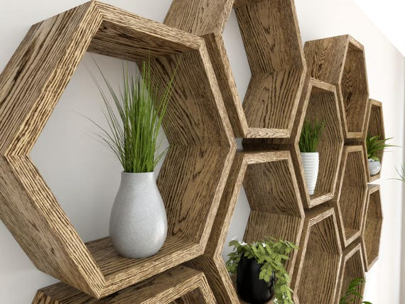 Hexagon Wall Shelf In Solid Oak Dark Oak Honeycomb Shelves Etsy