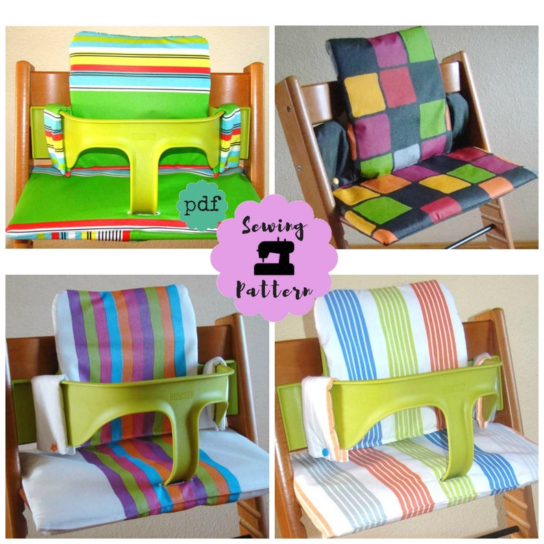 Stokke Tripp Trapp Cushion Set Pdf Sewing Pattern With Video Tutorial Stokke Cushion Sewing Pattern High Chair Cover Or Pad Pattern