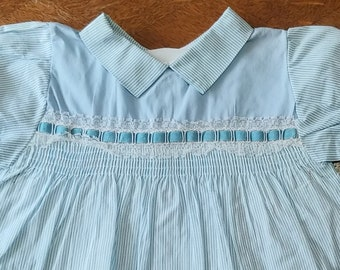 7a3aabab95eb Vintage Blue and White Striped Baby Infant Toddler Dress perfect for Easter  Spring Summer Wedding smocked Polly Flinders style.