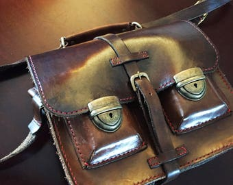Old School Style Leather Satchel
