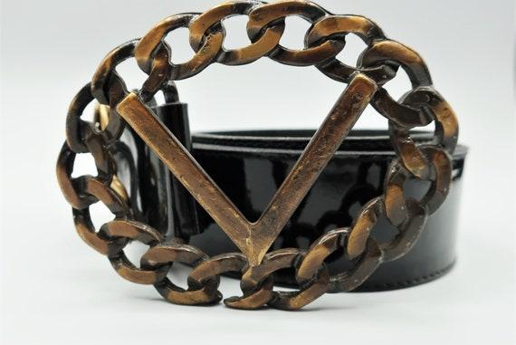Valentino Black Patent Leather Belt