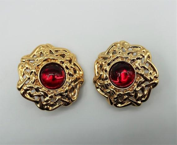 Guy Laroche Ruby Stone Earrings