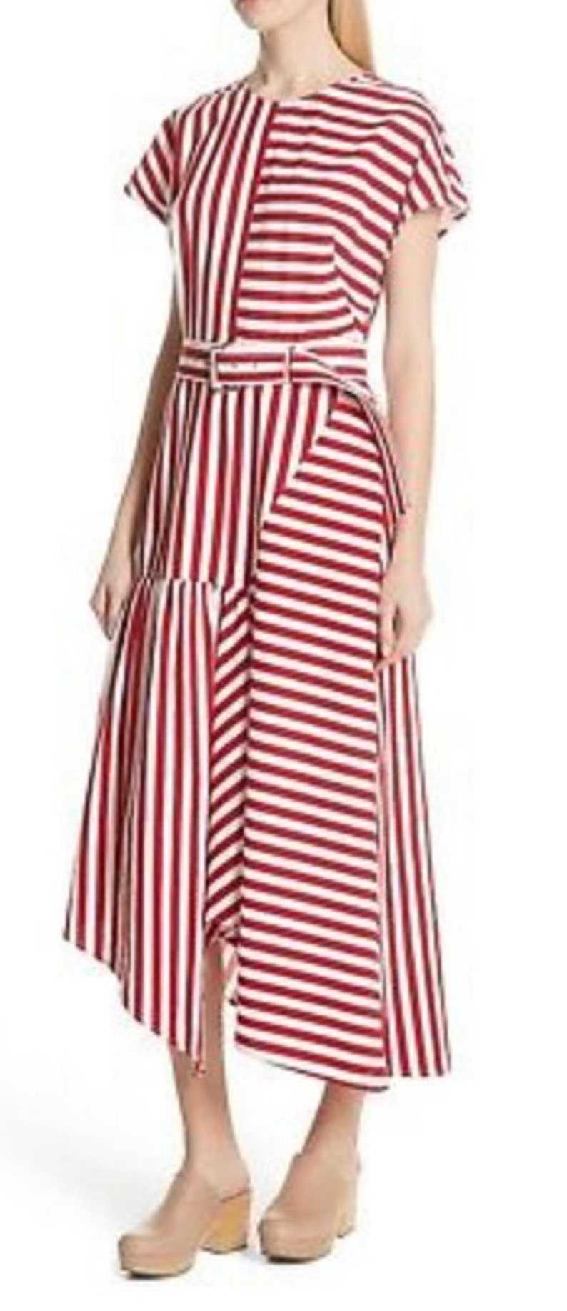 Rachel Comey NWOT Red and White Striped Asymmetrical Dress size XS