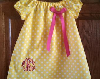 Monogrammed Peasant Dress for Baby/Toddler/Girl, Spring Dress, Easter Dress, Summer Dress, Back to School