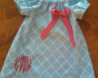 Monogrammed Peasant Dress for Baby/Toddler/Girl, Easter Dress, Spring Dress, Summer Dress
