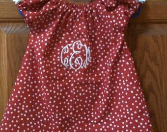 Monogrammed Peasant Dress for Baby/Toddler/Girl, Valentine's Dress, Spring Dress, Summer Dress