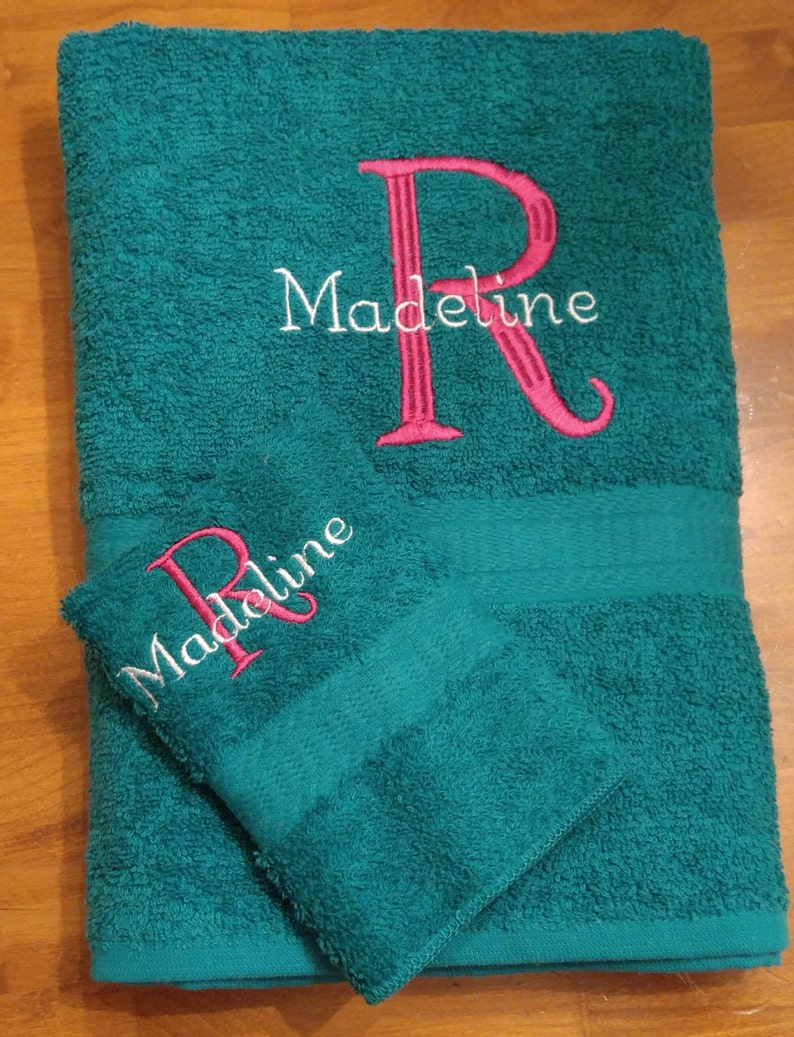 Personalized Towel/Washcloth Set with Embroidered Initial and image 0