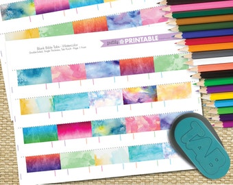 Printable Blank Bible Tabs - Watercolor (for Tab Punch) Set of 30