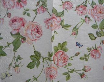 * 20 Napkins Mini Roses * Wedding Napkins technology Small Vintage Roses