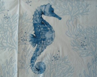 2 Decoupage Luncheon Napkins Blue Seahorse Sea Life Coral Seaweed Ocean Plants by Punch Studio