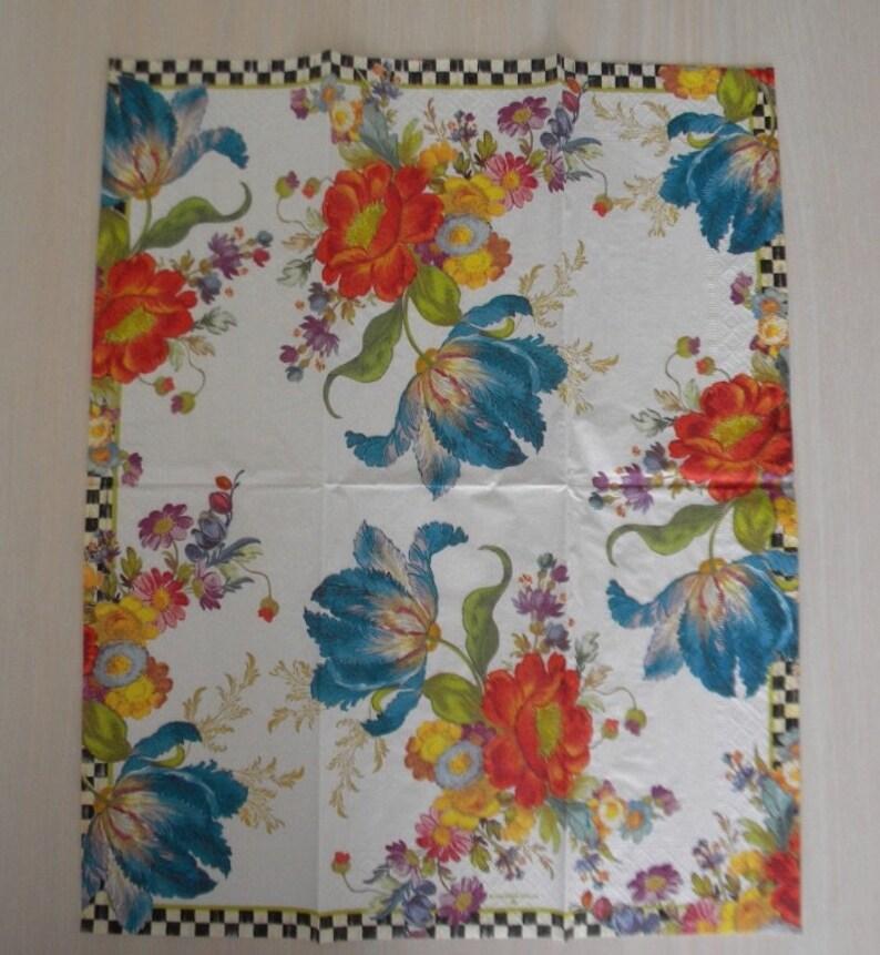 2 Mackenzie Childs White Flower Market Decoupage Napkins Retired Dinner Guest Towel Paper Napkins