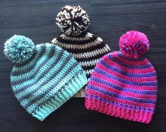 0162c61b792 Striped pom pom winter hat