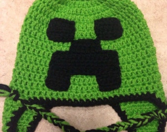 Minecraft inspired creeper hat with ear flaps e36f8e0fb05