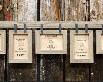 """Barn Wood Collage Picture Frame, Rustic Multi Pane Photo Frames 5 4x6"""" 5x7"""", Multi Opening Rustic Frame, Farmhouse Frame"""