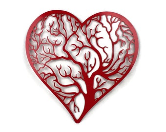 Banded heart shape tree of life -- 9.5 or 16""