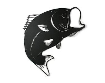"Metal Large Mouth Bass Fish Wall Decor Fishing Sign, Metal Fisherman Sign 18"" tall"