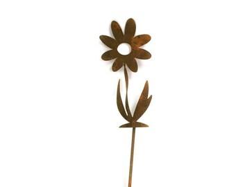 "Twisted Metal Flower Stake, 9.5"" tall, garden gift, rustic flowers, outdoor flower, flower yard stake, flower garden stake, garden art"
