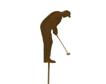 Metal Golfer Yard Stake, golf garden art, golf course landscape art, golf decor, golfer gift, garden marker, father's day golf gift, golfing