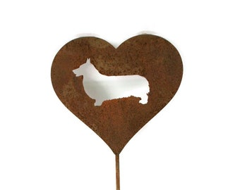 Corgi Dog Heart Garden Stake, pet memorial, dog stake, rainbow bridge, Pembroke Welsh Corgi