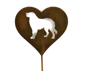 Dog Heart Garden Stake, pet memorial, border collie labrador golden retriever, dog stake, rainbow bridge