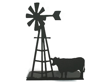 """Metal Windmill and Cow Stand 15"""" tall Powder Coated"""