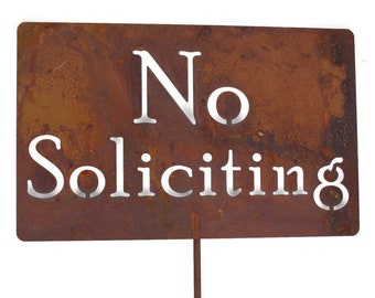 No Soliciting Rustic Metal Stake, No Solicitors Sign