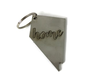 Home State Key Chain, metal home key ring, home sign, state outline gift, state home decor, state key chain, key chain, metal home sign