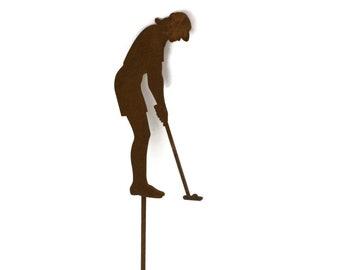 Metal Female Golfer Yard Stake, golf garden art, golf course landscape art, golf decor, golfer gift, mother's day golf gift, golf tournament