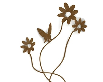 Rustic Cluster of Flowers, metal flower stake, outdoor flowers, rustic floral art, rustic flower, flower stake, outdoor decor, rusty flowers