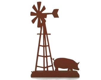 """Metal Windmill and Pig Stand 14.75"""" tall Powder Coated"""