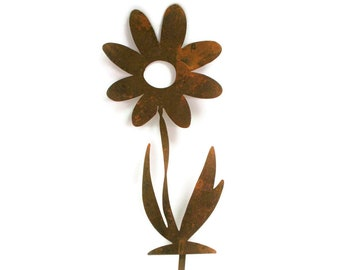 "Twisted Metal Flower Stake, 9.5"" tall, garden gift, rustic flowers, outdoor flower, flower yard stake, flower garden stake, garden art"