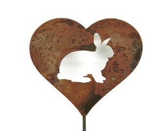 Bunny Rabbit Heart Garden Stake, pet memorial, rabbit stake, garden gift idea