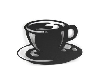 "Coffee Cup Metal Wall Art Kitchen Decor 5.8x8.5"" Powder Coated"