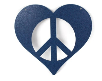 Metal Heart Peace Sign, Valentine heart, heart hanging sign, peace and love, peace hearts, peace sign, peace symbol