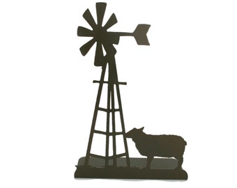 """Metal Windmill and Sheep Stand 15"""" tall Powder Coated"""