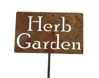 Herb Garden Metal Garden Stake Sign, Small to XL