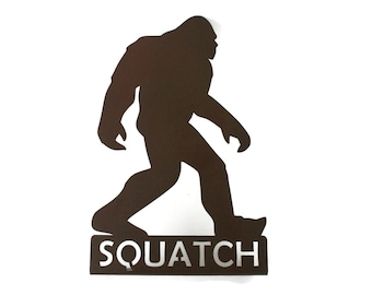 """Squatch Bigfoot Standing Metal Sign 13"""" Tall Powder Coated"""