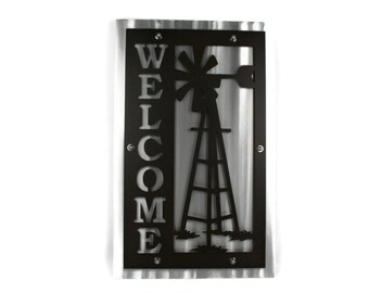 Vertical Metal Windmill Farm Welcome Sign -- 24 Inches Tall Powder Coated Finish