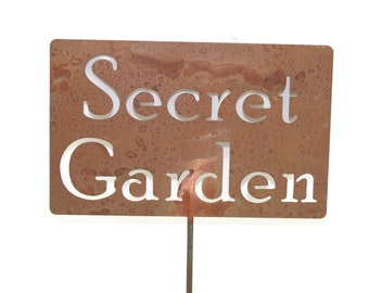 Secret Garden  Metal Garden Stake Sign, Small to XL