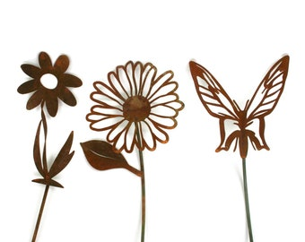 "Rusted Steel Garden Stake Gift Set - butterfly, daisy and twisted daisy stakes up to 23"" tall"