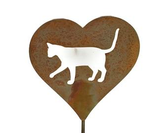 Metal Cat Heart Garden Stake, pet memorial, cat yard sign, outdoor cat stake, crazy cat lady, garden marker, rustic garden art
