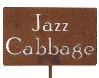 Jazz Cabbage Funny Metal Garden Stake Sign, Small to XL