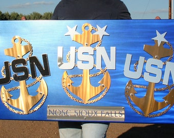 US NAVY Chief Anchor, Fouled Anchor, US Navy Wall Sign, Chief Petty Officer gift, Navy retirement, Navy promotion, Custom Navy Chief gift