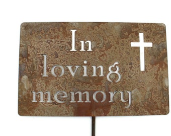 In loving memory Memorial Cross Metal Garden Stake Grave Marker Sign 23 to 33 Inches Tall