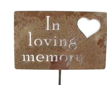 In loving memory Memorial Heart Metal Garden Stake Grave Marker Sign 23 to 33 Inches Tall