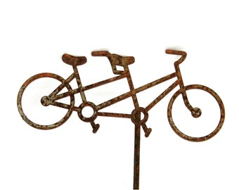 Rusty Tandem Bicycle Stake, Bike Yard Art, Bicycle Built for Two, Bike Riding Gift, bicycle yard art, bike garden sign, bicycle yard sign