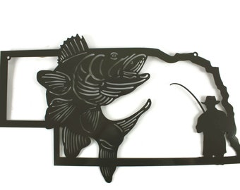 Nebraska Walleye Fishing Metal Wall Art Sign -- fishing sign, fisherman gift idea -- 22 Inches Wide