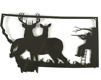 Montana Deer Hunting Sign, Deer Hunter Sign, Whitetail Deer Hunting Decor